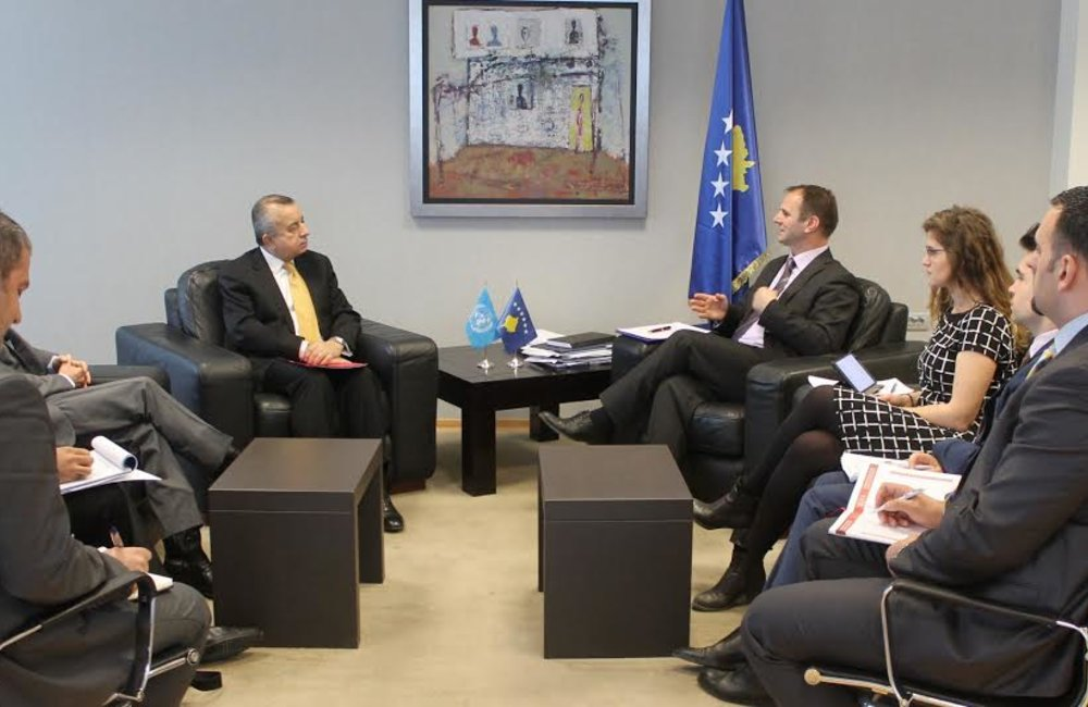 12 February 2016, Pristina - The Special Representative of the Secretary-General, Zahir Tanin, accompanied by Deputy Special Representative of the Secretary-General Christopher Colman, was received by Minister of Justice, Hajredin Kuci. They discussed the government's priorities, and how the international community can best support them.