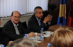 SRSG Zahir Tanin and DSRSG Christopher Coleman in the meeting with Mayor Bajram Mulaku, 2016©UNMIK Photo by: Jan Malekzade